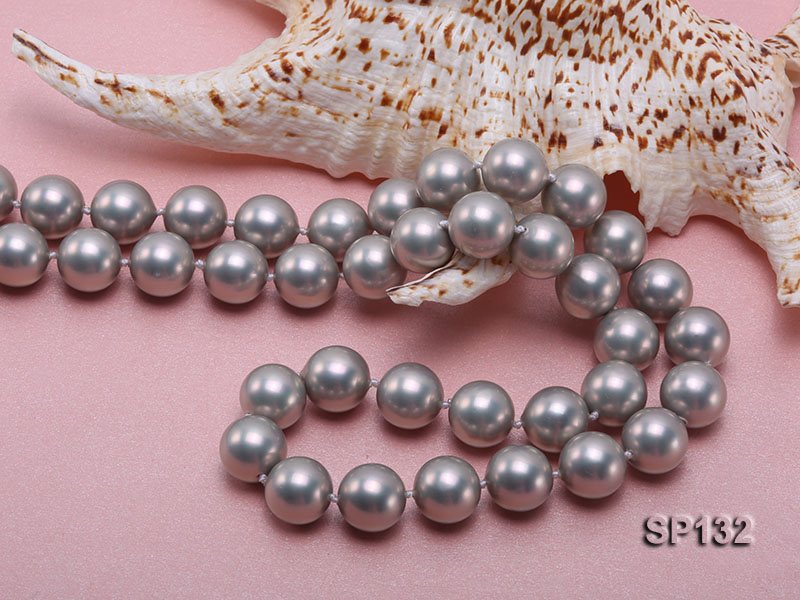 14mm grey round seashell pearl necklace big Image 5