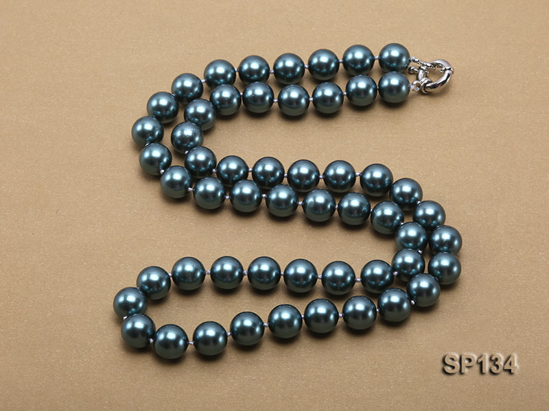 12mm peacock blue round seashell pearl necklace big Image 4