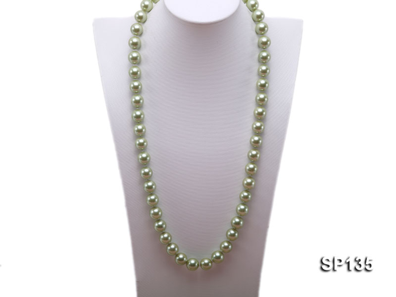 14mm green round seashell pearl necklace big Image 1