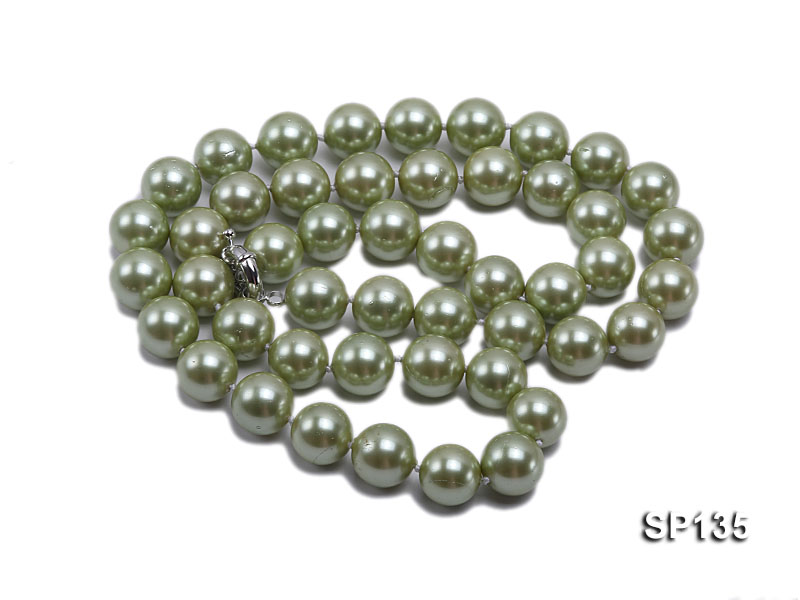 14mm green round seashell pearl necklace big Image 3