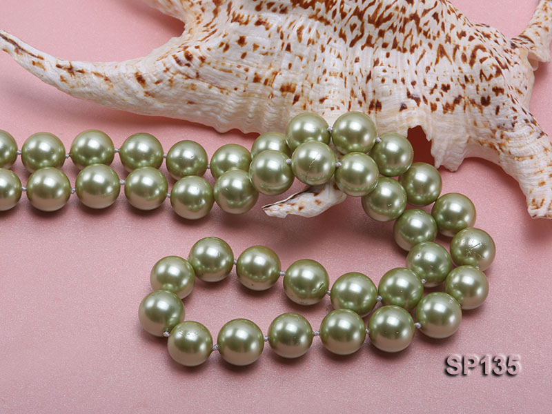 14mm green round seashell pearl necklace big Image 4