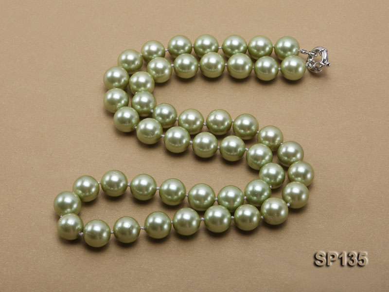 14mm green round seashell pearl necklace big Image 5