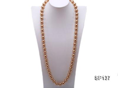 14mm golden round seashell pearl necklace SP137 Image 1