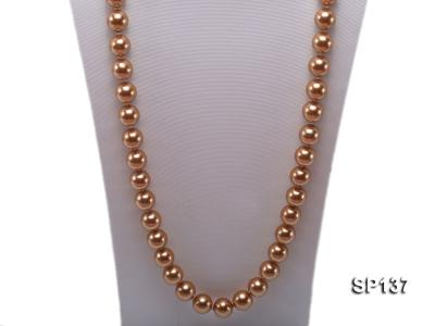 14mm golden round seashell pearl necklace SP137 Image 2