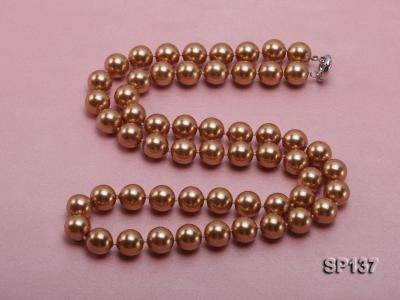 14mm golden round seashell pearl necklace SP137 Image 4
