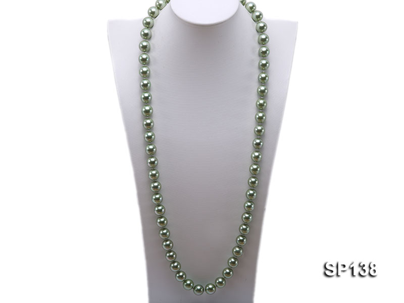 14mm light green round seashell pearl necklace big Image 1