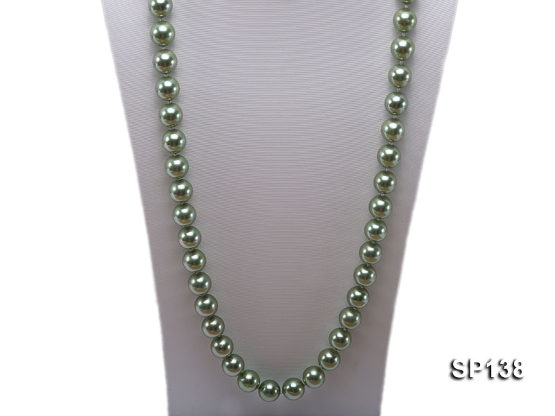 14mm light green round seashell pearl necklace big Image 2