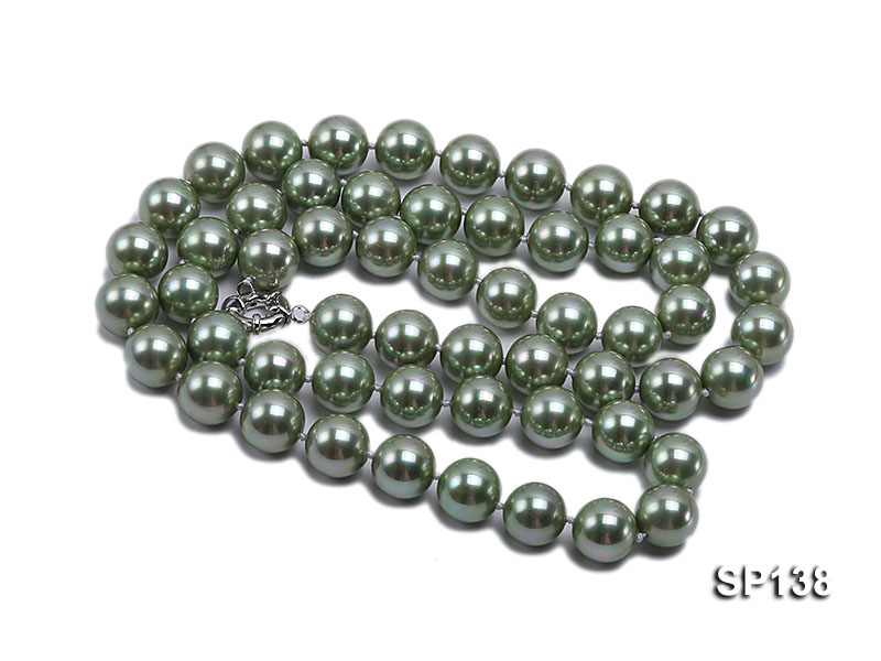 14mm light green round seashell pearl necklace big Image 3