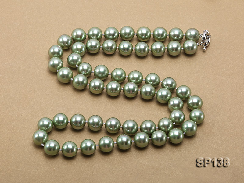 14mm light green round seashell pearl necklace big Image 4