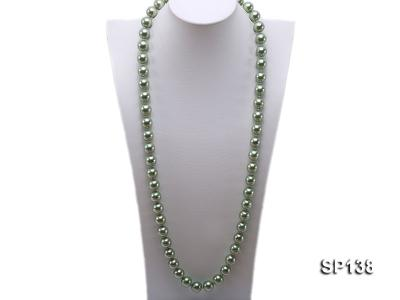 14mm light green round seashell pearl necklace SP138 Image 1