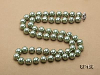 14mm light green round seashell pearl necklace SP138 Image 4