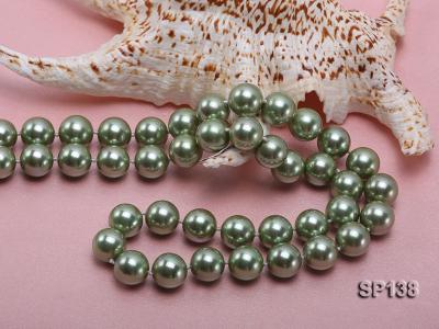 14mm light green round seashell pearl necklace SP138 Image 5
