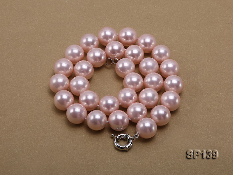 16mm pink round seashell pearl necklace big Image 3