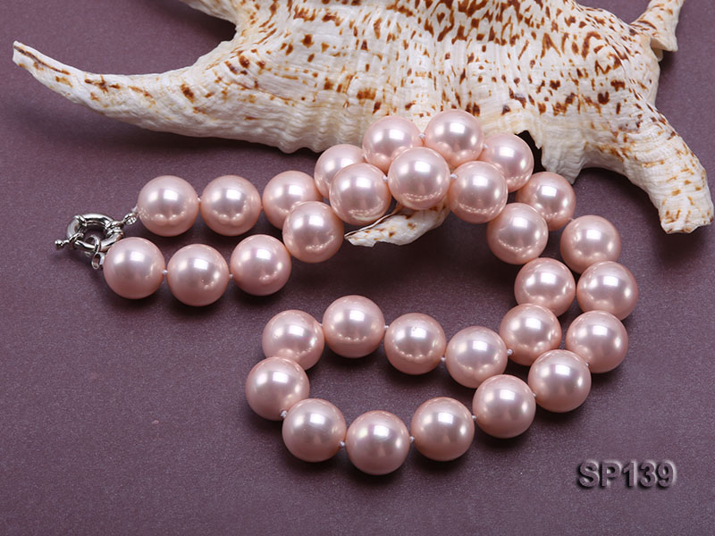 16mm pink round seashell pearl necklace big Image 4