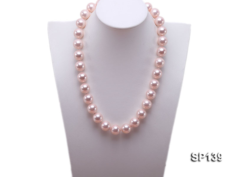 16mm pink round seashell pearl necklace big Image 5