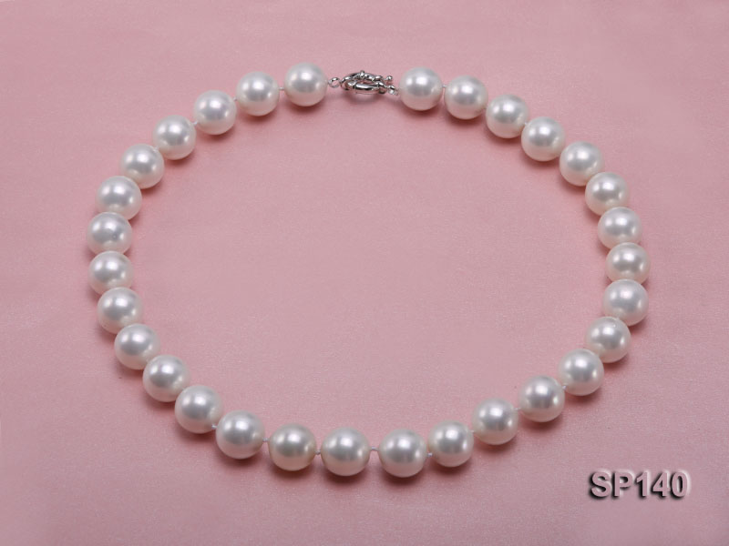 16mm white round seashell pearl necklace big Image 1