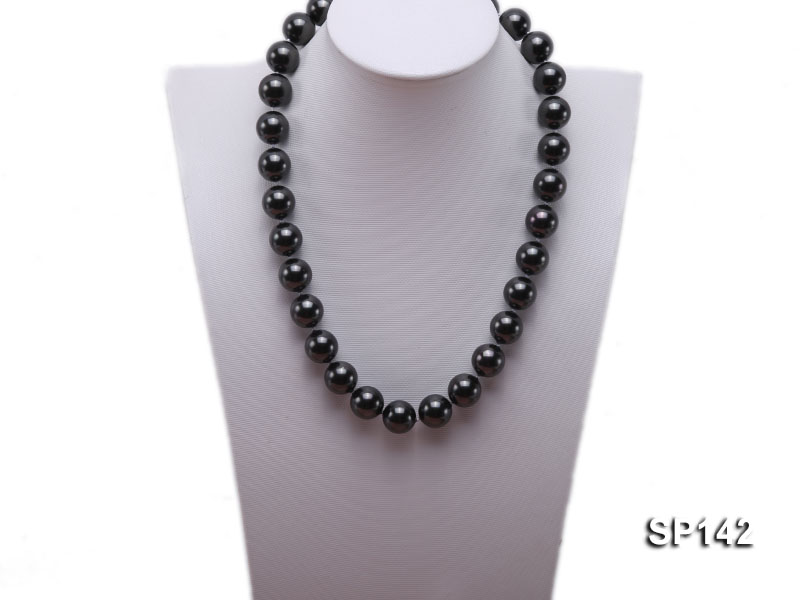 16mm black round seashell pearl necklace big Image 5