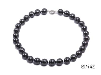 16mm black round seashell pearl necklace SP142 Image 1