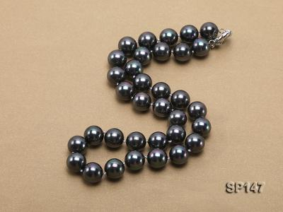 14mm black round seashell pearl necklace SP147 Image 2