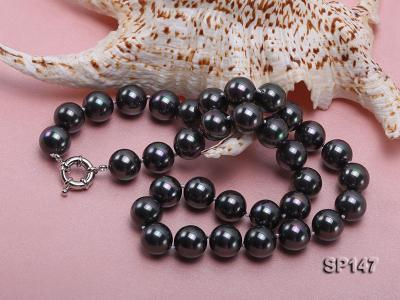 14mm black round seashell pearl necklace SP147 Image 4