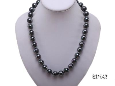 14mm black round seashell pearl necklace SP147 Image 5