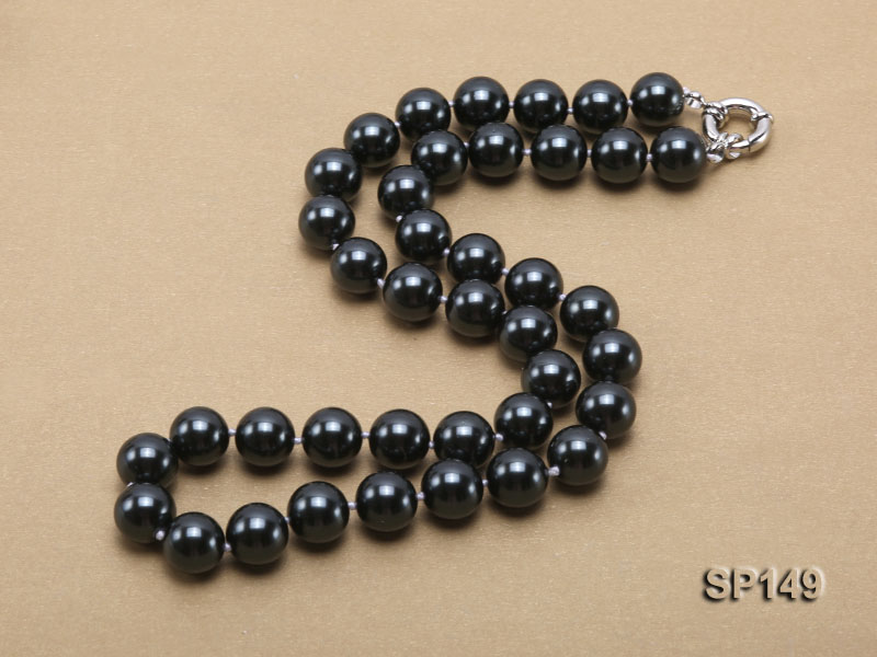 12mm black round seashell pearl necklace big Image 2