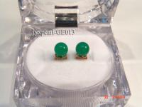 6.4mm green round jade  earrings with sterling silver studs GE013