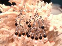 4mm red garnet and white pearl earring with sterling silver dangler GE042