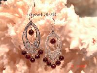 3-4mm Round Dark Red Garnet Earrings with Sterling Silver Dangle GE044