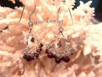 4mm red round garnet earring with sterling silver dangle GE046