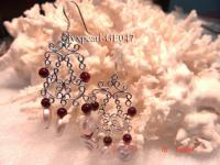 3-4mm Round Dark Red Garnet and White Pearl Earrings with Sterling Silver Dangle GE047