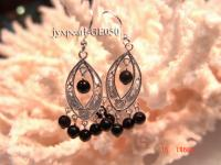 3-4mm Round Dark Red Garnet Earrings with Sterling Silver Dangle GE050