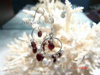 4mm red round garnet and white pearl earring with sterling silver hook GE058