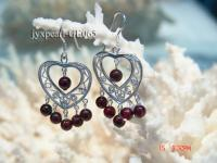4mm Round Dark Red Garnet Earrings with Sterling Silver Dangle GE065
