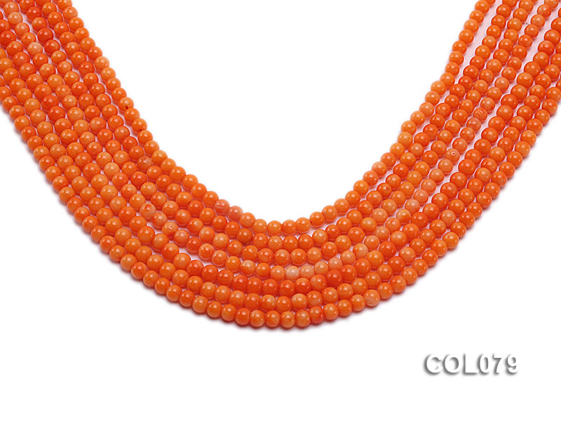Wholesale 4.5mm Round Orange Coral Beads Loose String big Image 1