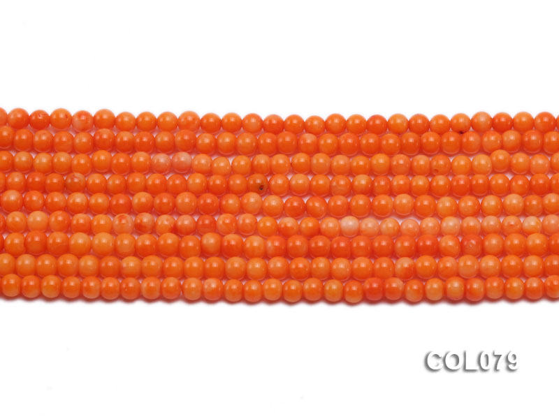 Wholesale 4.5mm Round Orange Coral Beads Loose String big Image 3