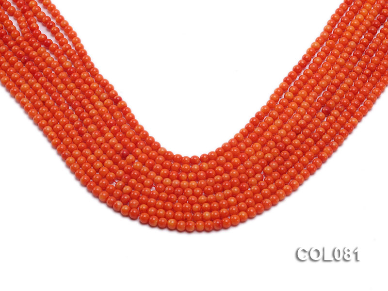 Wholesale 4.5mm Round Red Coral Beads Loose String big Image 1