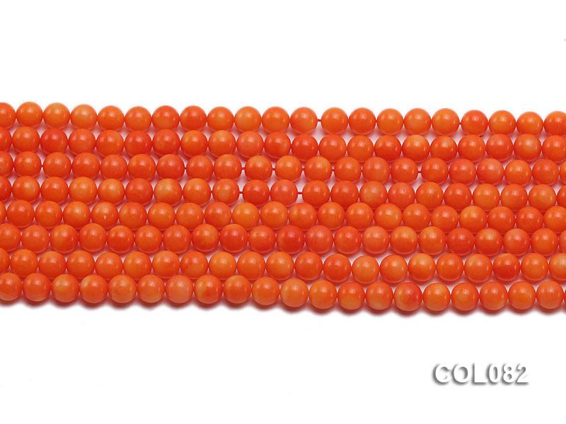 Wholesale 5.5mm Round Red Coral Beads Loose String big Image 2