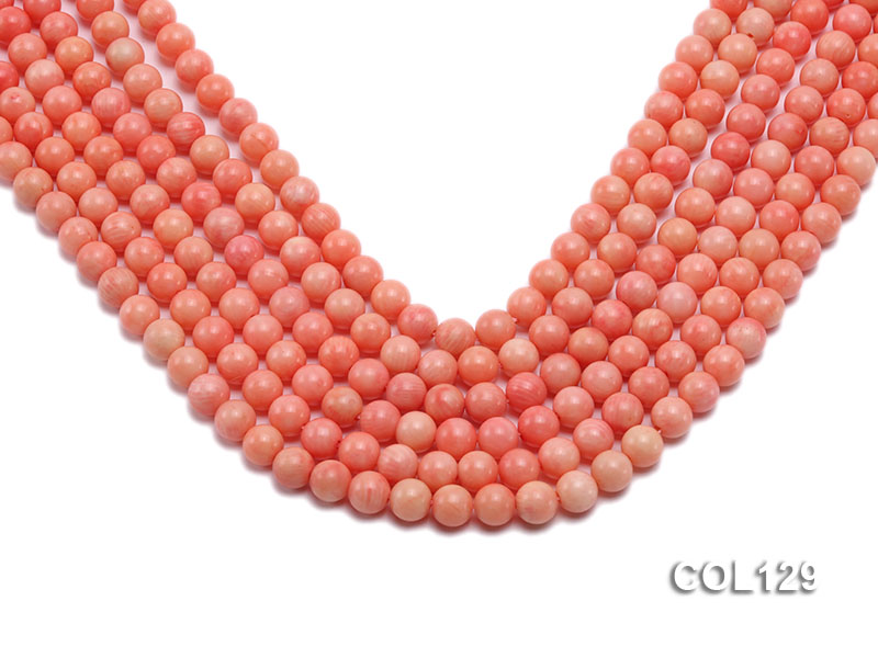 Wholesale 8mm Round Pink Coral Beads Loose String big Image 1