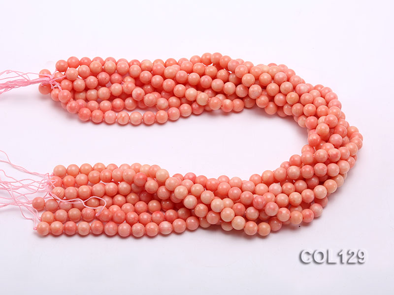 Wholesale 8mm Round Pink Coral Beads Loose String big Image 3