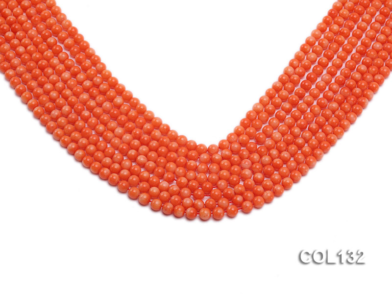 Wholesale 4.5-5mm Round Pink Coral Beads Loose String big Image 1