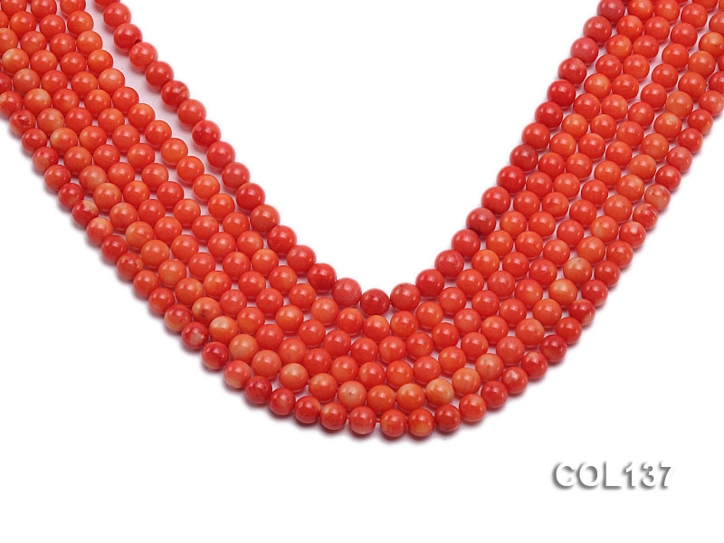 Wholesale 6.5-7mm Round Salmon Pink Coral Beads Loose String big Image 1
