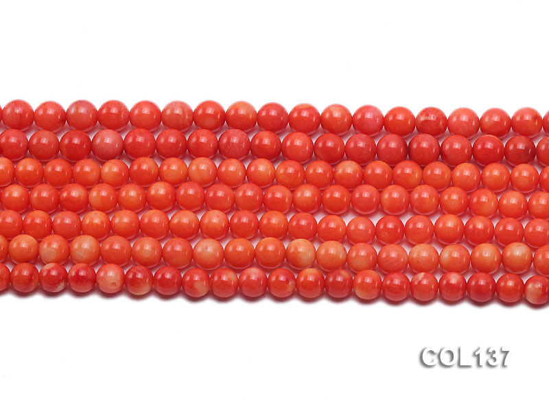 Wholesale 6.5-7mm Round Salmon Pink Coral Beads Loose String big Image 2