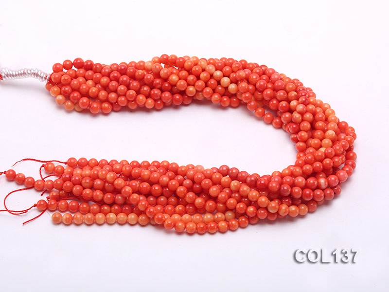 Wholesale 6.5-7mm Round Salmon Pink Coral Beads Loose String big Image 3