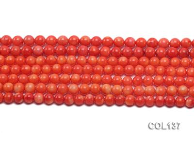 Wholesale 6.5-7mm Round Salmon Pink Coral Beads Loose String COL137 Image 2