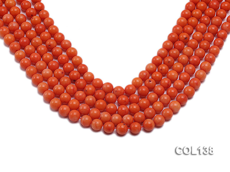Wholesale 8mm Round Salmon Pink Coral Beads Loose String big Image 1