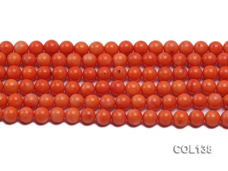 Wholesale 8mm Round Salmon Pink Coral Beads Loose String big Image 2