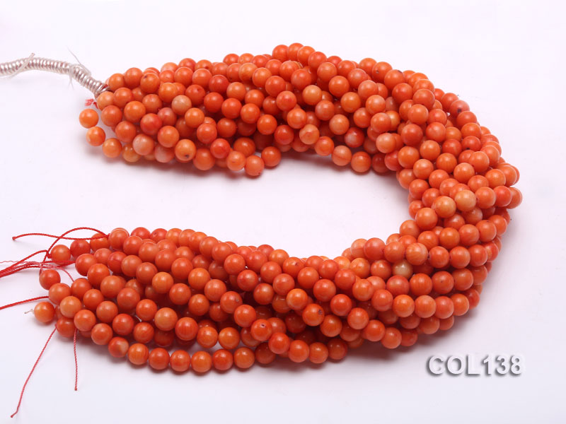 Wholesale 8mm Round Salmon Pink Coral Beads Loose String big Image 3