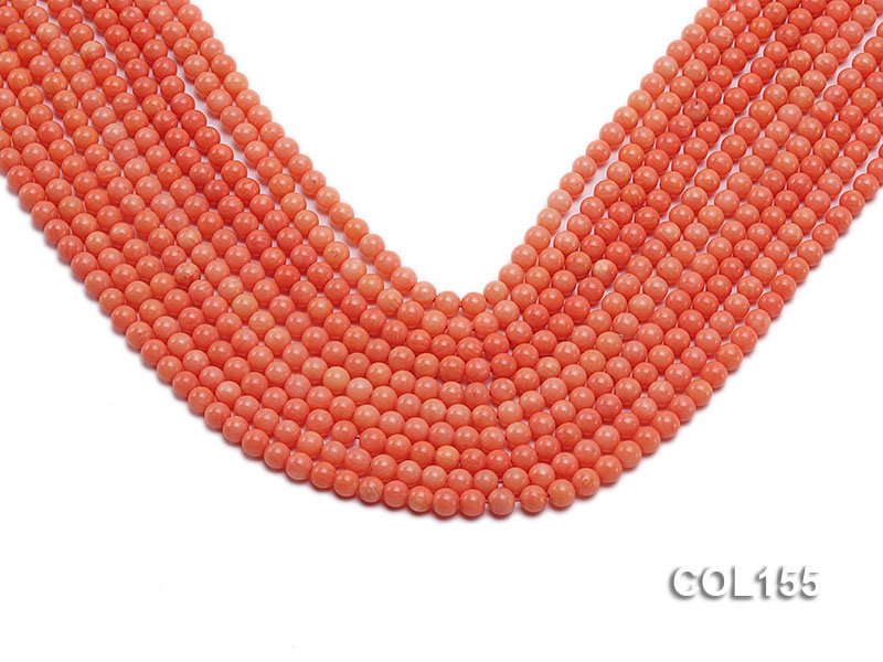 Wholesale 5mm Round Pink Coral Beads Loose String big Image 1