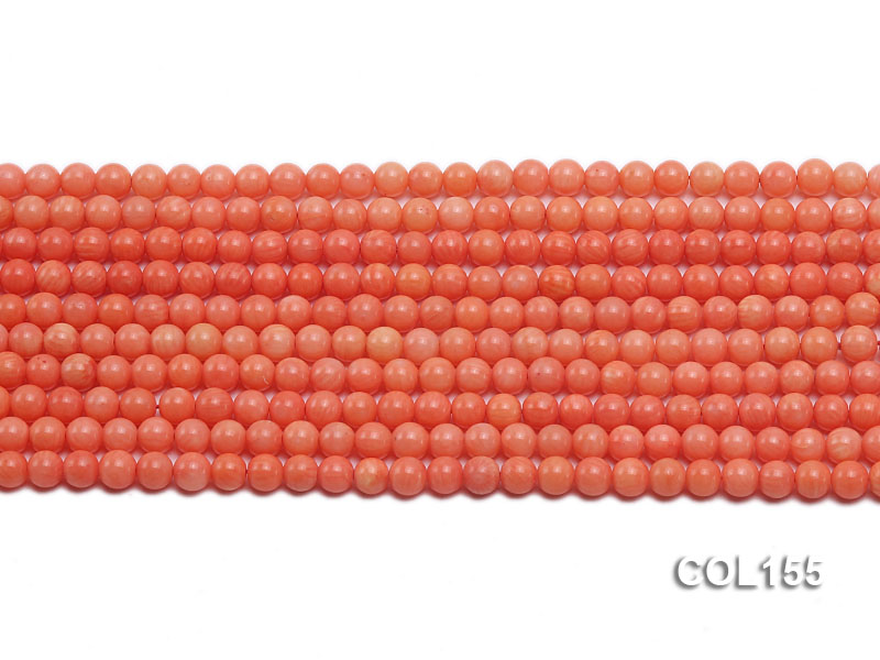Wholesale 5mm Round Pink Coral Beads Loose String big Image 2